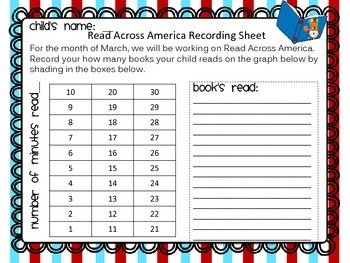 Read Across America Student Tic-Tac-Toe Book Logs, Recording Sheets, and Graphs