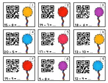 Subtraction QR Task Cards
