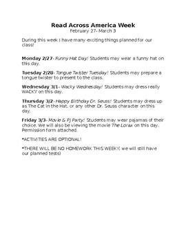 Read Across America Week Activities letter