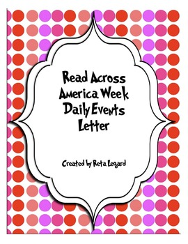 Read Across America Week Daily Events Letter