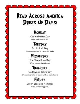 Read Across America Week Dress Up Days