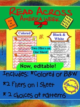 Read Across America Week Event Flier with focus of Dr. Seuss' Books