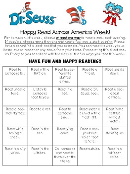 Read Across America Week Homework