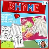 Rhyming Worksheets Activities Dr. Seuss Week Inspired Kindergarten and 1st Grade