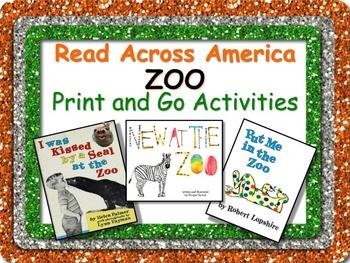 ZOO Literacy and Math Fun Pack + BONUS Bookmarks! Read Acr