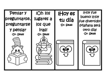 Coloring Read Across America bookmarks Spanish & English