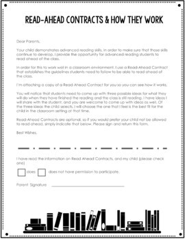 Read Ahead Contract for Fast Readers - Elementary {FREEBIE}