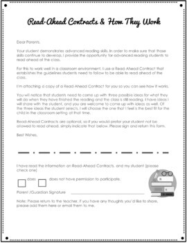 Read Ahead Contract for Fast Readers - Secondary {FREEBIE}