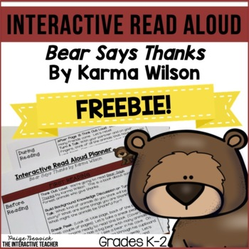 Thanksgiving Read Aloud Freebie: Bear Says Thanks, Interactive Lesson Plans