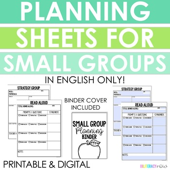 Read Aloud, Guided Reading, and Strategy Group Planning Sheets, Templates