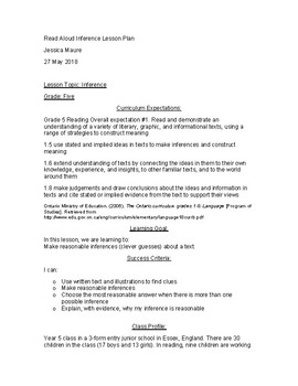 Read Aloud Inference Lesson Plan