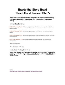 Read Aloud Lesson Plans to use with Braidy the Story Braid