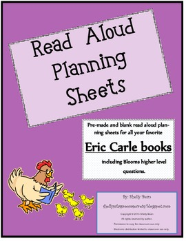 Read Aloud Plan Sheets, Eric Carle books(Bloom's Questions)