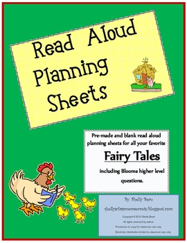 Read Aloud Plan Sheets, Fairy Tales (Bloom's higher level questions)