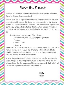 Read Aloud Plans for The Sandwich Swap