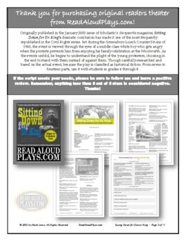 Read Aloud Plays: Sitting Down for Dr. King class set play scripts