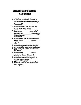 Read Aloud Questioning Bookmark
