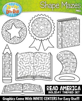 Read America Shaped Mazes Clipart Set {Zip-A-Dee-Doo-Dah Designs}