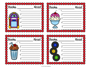 Read Around the Clock Diner (Fifties) Theme -Reading Logs, Bookmarks & More