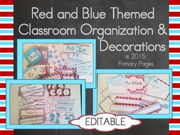 Read & Blue Themed Classroom Organization and Decorations