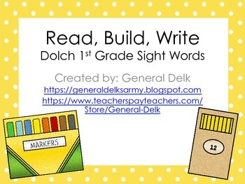 Read, Build, Write Dolch 1st Grade Sight Words
