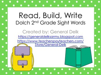 Read, Build, Write Dolch 2nd Grade Sight Words