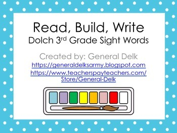 Read, Build, Write Dolch 3rd Grade Sight Words