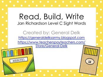 Read, Build, Write Jan Richardson Level C