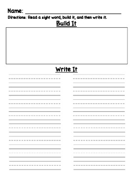 Read Build Write Sight Word Work