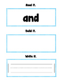 Read, Build, Write Sight Words (and)