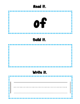 Read, Build, Write Sight Words (of)