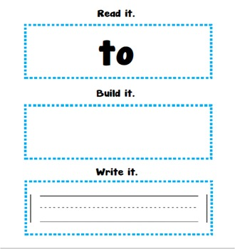 Read, Build, Write Sight Words (to)