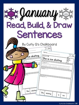 Read, Build and Draw Sentence Practice for January