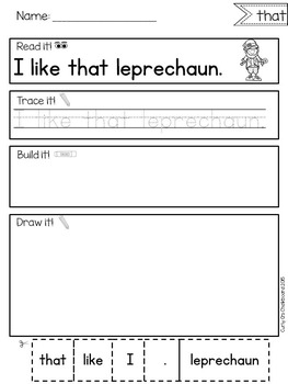 Read, Build and Draw Sentence Practice for March