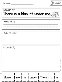 Read, Build and Draw Sentence Practice for May