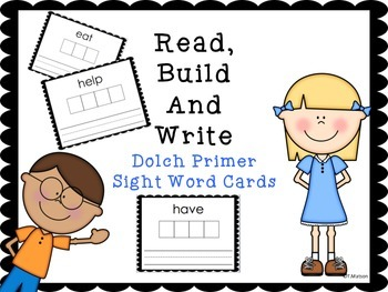 Read, Build and Write Primer Sight Word Cards