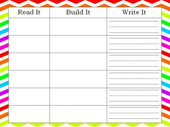 Read, Build, and Write Sight Word Activity
