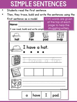 CVC Sentences Worksheets - Read, Trace, and Write Simple Sentences Worksheets