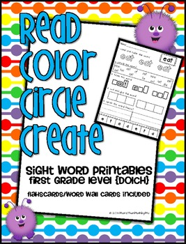 Read Color Circle Create Sight Word Printables-ALL 41 First Grade Dolch Words