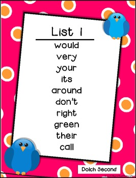 Read Color Circle Create Sight Word Printables-ALL Second Grade Dolch Words