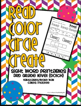 Read Color Circle Create Sight Word Printables-ALL Third G