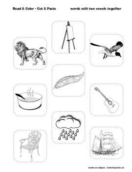 Read & Color - Cut & Paste - Active Practice  - Fun Worksheets! - Grades 1-2-3