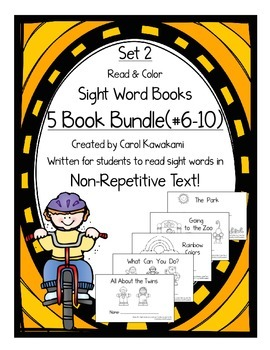 "Sight Word Books: Set 2-to, and, is, can, we""; Sight Word Books #6-10 Bundle"