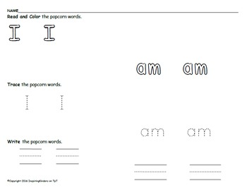 Read, Color, Trace, Write Sight Word Packet