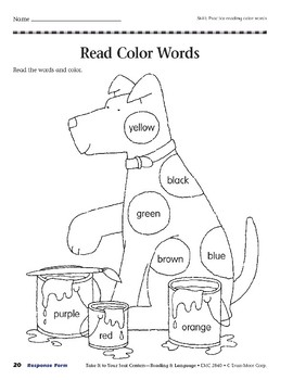 Read Color Words (Take It to Your Seat Centers)