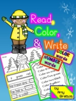 Read, Color,& Write-Color and Number Word Literacy Activities