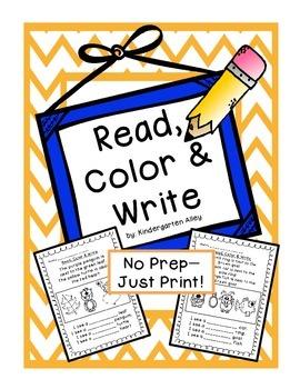 Read, Color & Write: No Prep Printables