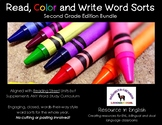 Read, Color, Write Word Sorts All Year Bundle for 2nd Grad