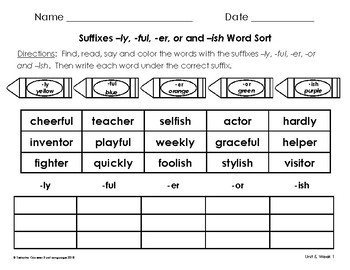 Read, Color and Write Word Sorts for Unit 5 of 2nd Grade Reading Street