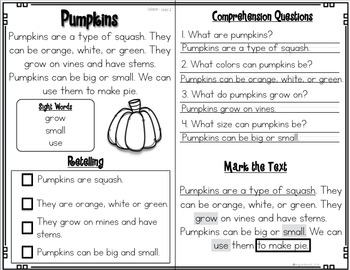 Reading Comprehension Passages and Questions~ Fall Reading Comprehension Edition